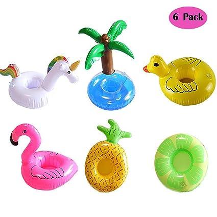 Posavasos de Flotador Unicornio & Flamingo Titular de Bebida Inflador 6 Pcs Colchonetas y Juguetes Hinchables