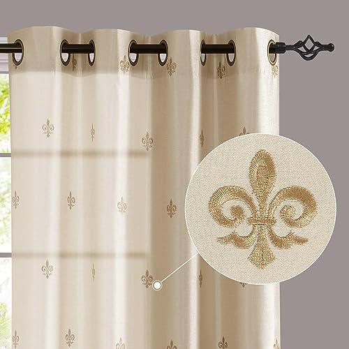 jinchan Flur De Lis Embroidered Curtain