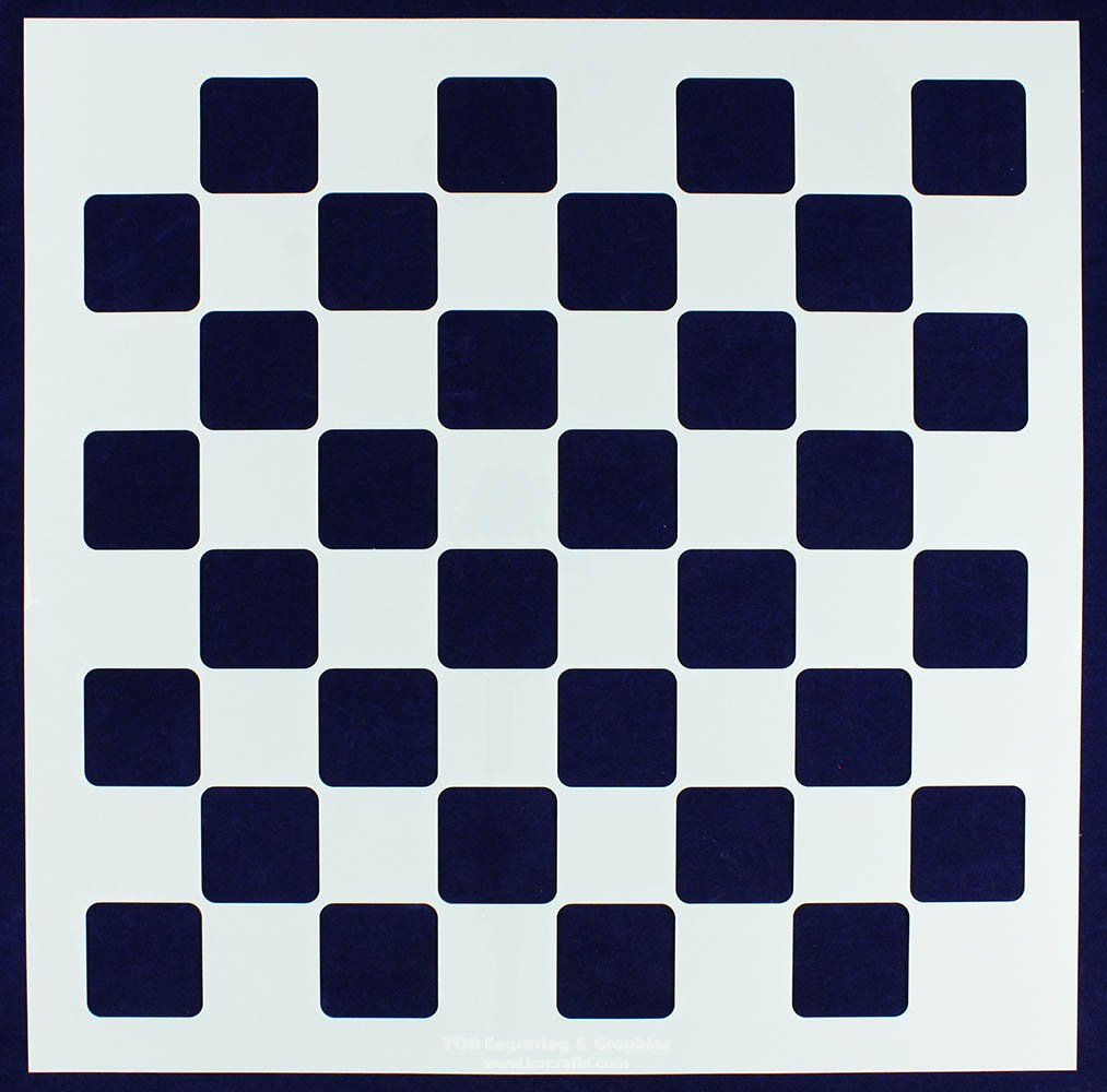 Chess/Checkerboard Stencil -16'' X 16'' Board with 2'' Squares on an 18'' x 18'' Sheet