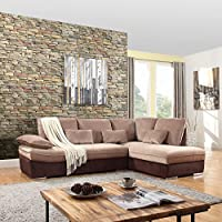 Classic Large Brush Microfiber L-Shape Sectional Sofa Couch with Chaise Lounge (Hazelnut / Brown)