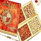 Ghasitaram Gifts Rakhi Gifts For Brother Rakhi Dryfruits - Ghasitaram's Golden Dryfruit Box 400 gms with Rudraksh Rakhi