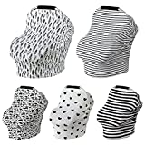Car Seat Canopy Nursery Cover up Breastfeeding Scarf Baby Shower Gift for Boys Girls (Black White Thick Stripe)