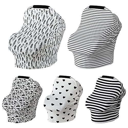 Car Seat Canopy Nursery Cover up Breastfeeding Scarf Baby Shower Gift for Boys Girls (Black White Thick Stripe) by OSOPOLA