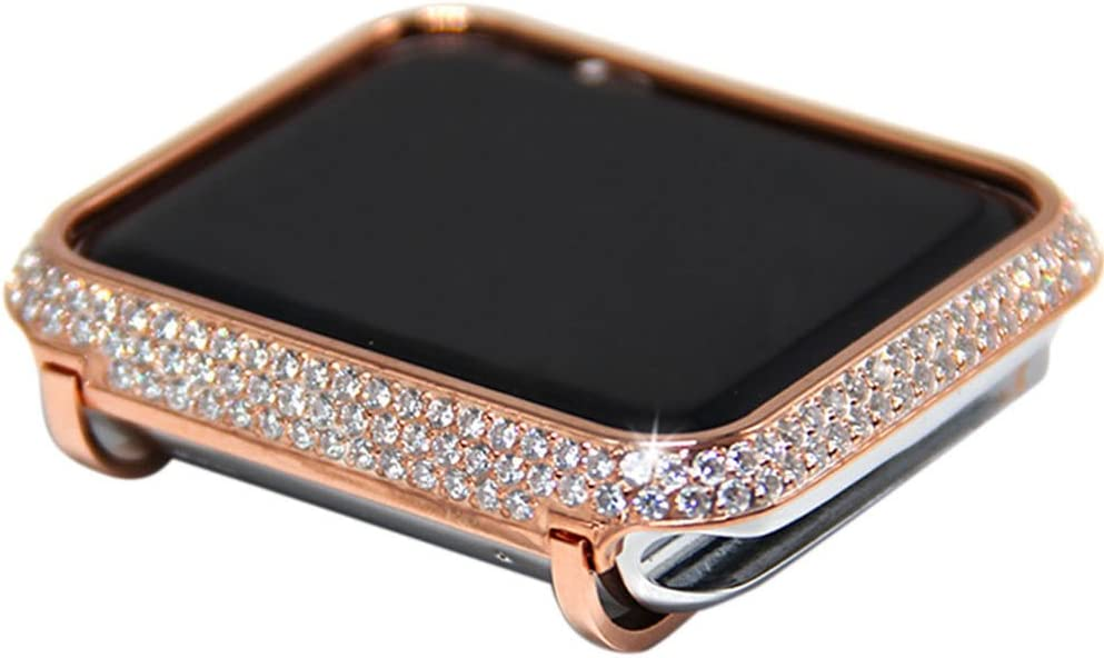 Callancity Quality Metal Crystal Diamond Rhinestone Bezel Cover Case Exquisite Handcraft Encrusted Compatible With Apple Watch 38mm Series 1 2 3 (Rose Gold)