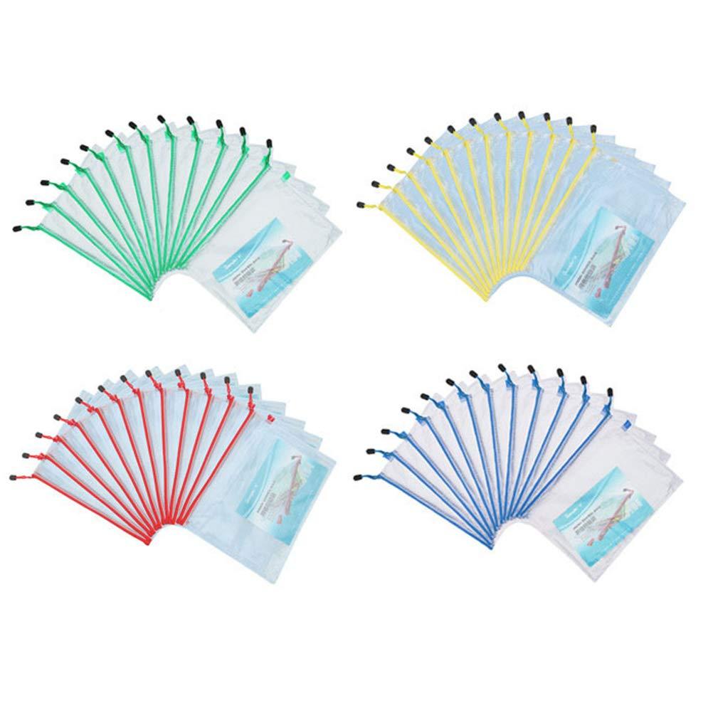 TOYMYTOY 4 Colori Sacchetti di File Cerniera b5 Impermeabile Plastica Mesh Sacchetto File Bag Astuccio,12 pezzi
