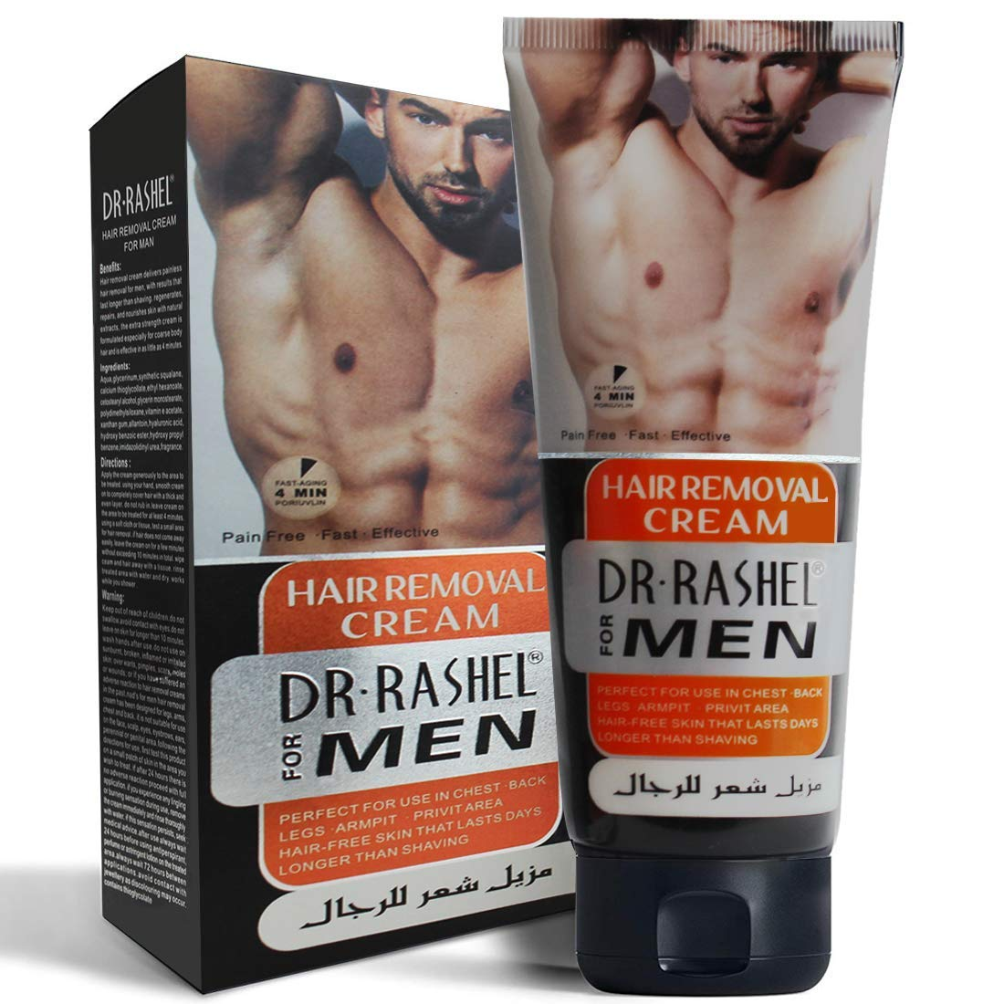 Depilatories Cream for Men, Aloe Hair Removal Cream for Men, PAIN-FREE, NO ORDOR, gently remove unwanted hair. Suitable for legs, body, underarms and other areas. Suitable for all skin types, 120ML
