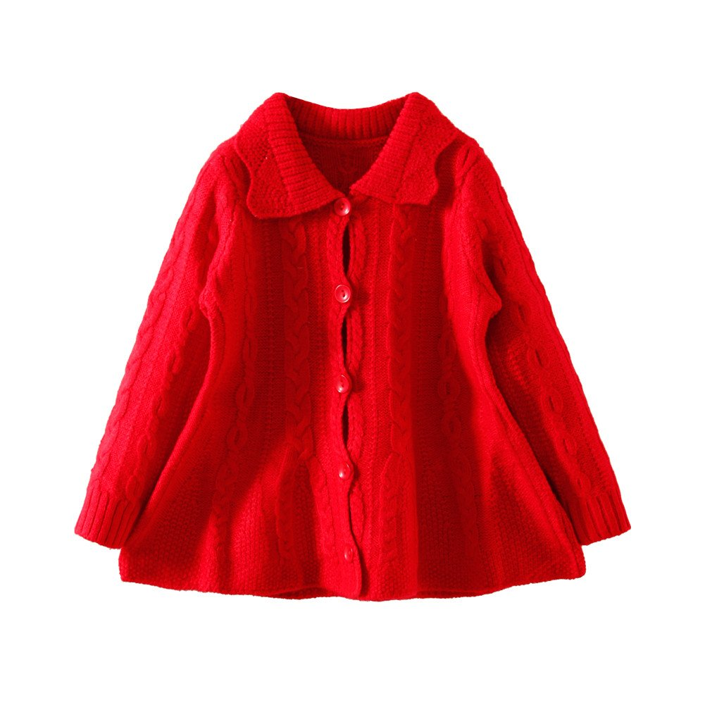 Mud Kingdom Girls Cardigan Sweaters Button Up Red Size 7