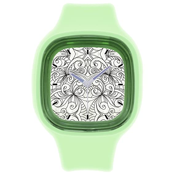 kosmore deportes dibujo muñeca reloj mujer correa de silicona relojes verde