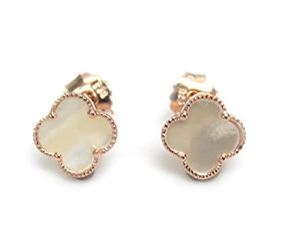 783b150bf ZilverPassion Mother of Pearl Four Leaf Clover Sterling Silver Earrings  (rose-gold-flashed