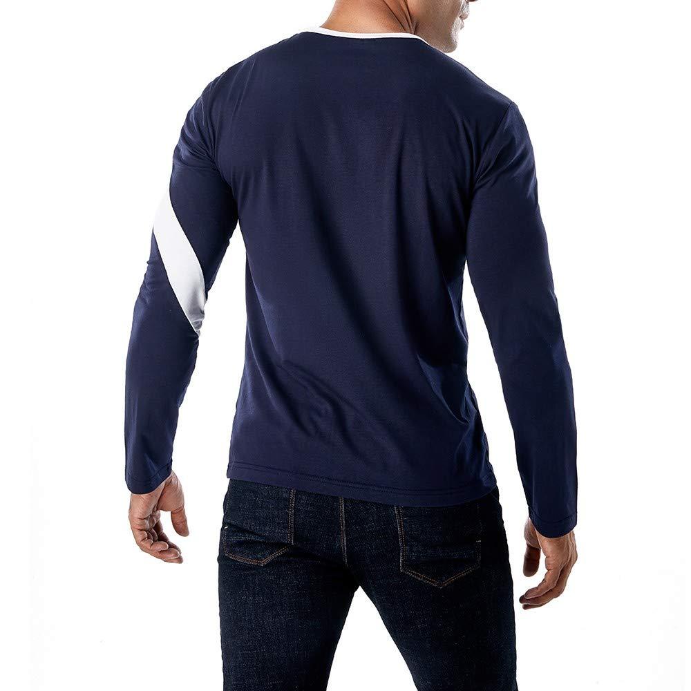 Fashion Casual Slim Splice Color Crewneck Muscle Shirt Top Realdo Long Sleeve T-Shirt for Men
