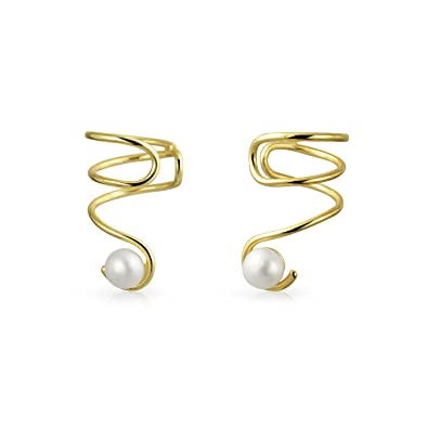 Bling Jewelry Freshwater Cultured Pearl .925 Sterling Silver Ear Cuff Wrap kY4X3HJaGr