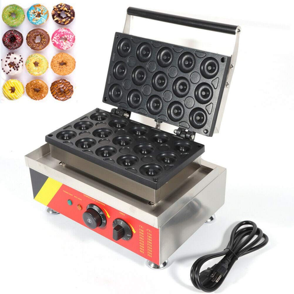 Wanlecy 15 Grids 1.5KW Doughnut Maker Machine Commercial Auto Temperature Control Nonstick for Make Doughnut Baker