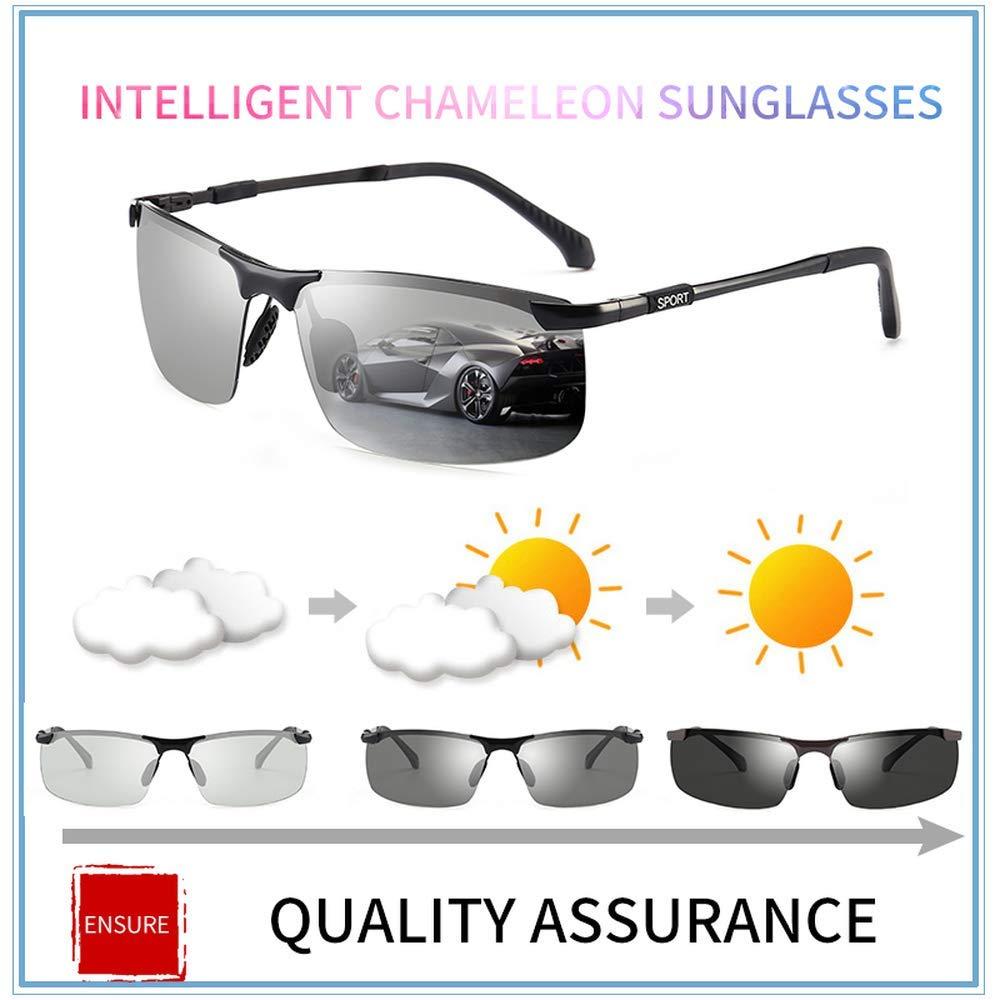 Sunglasses Men Polarized Chameleon Discoloration Sun glasses for men fashion rimless square sunglasses
