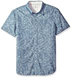 AG Adriano Goldschmied Men's Pearson Short Sleeve Chambray Print Button Down Shirt, Indigo Leaves Indigo/White, M
