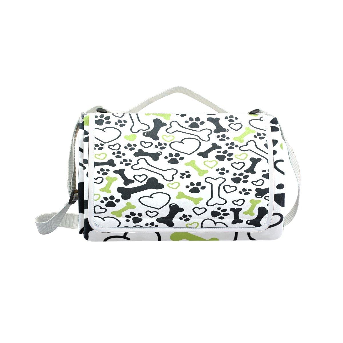My Little Nest Outdoor Camping Picnic Beach Blanket Mat Dog Paw Lightweight Portable Folding Travel Pad 57'' x 59''