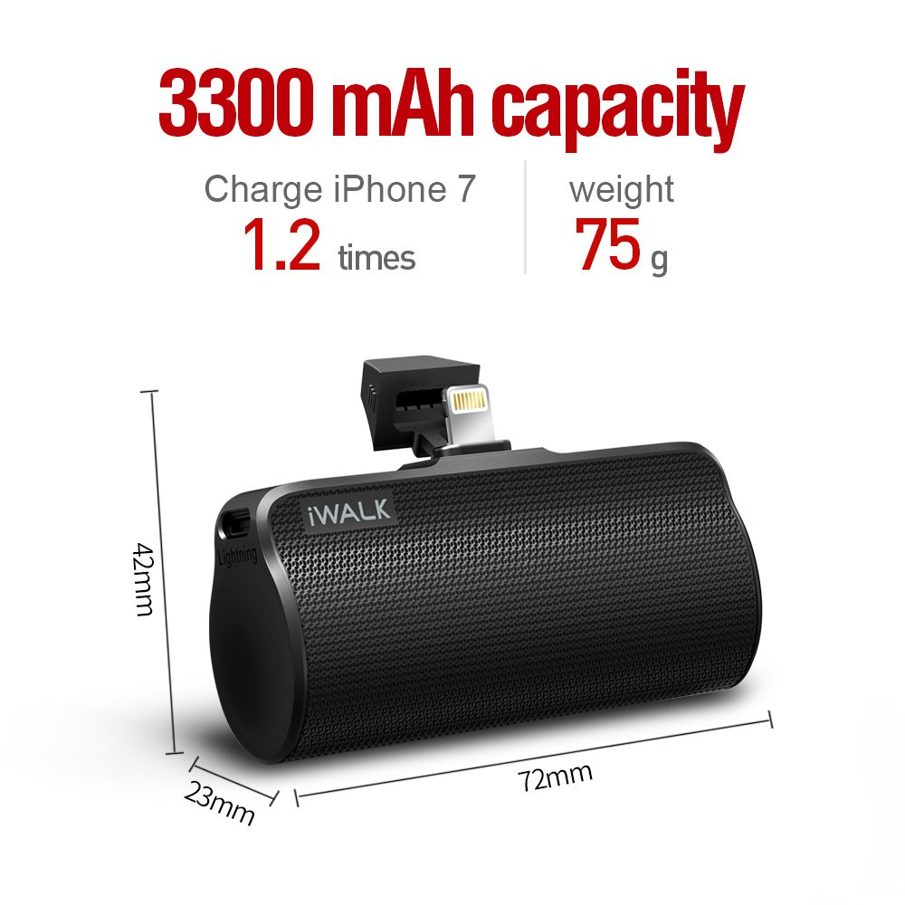iWALK Battery Charger Portable Power Bank with Lightning Cable Built in, 3300mAh Power Bank Lightning Input/Output, Battery Pack for iPhone 7 Plus, 7, 6s, 6 Plus, SE, Black by iWALK (Image #4)