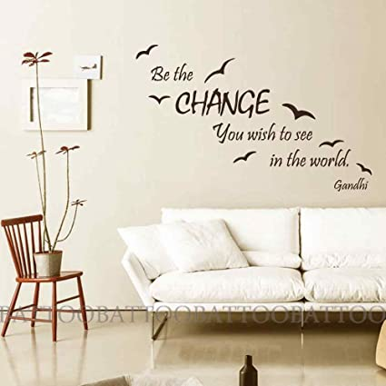 BATTOO Wall Decal Quote Be The Change You Wish To See In The World   Vinyl
