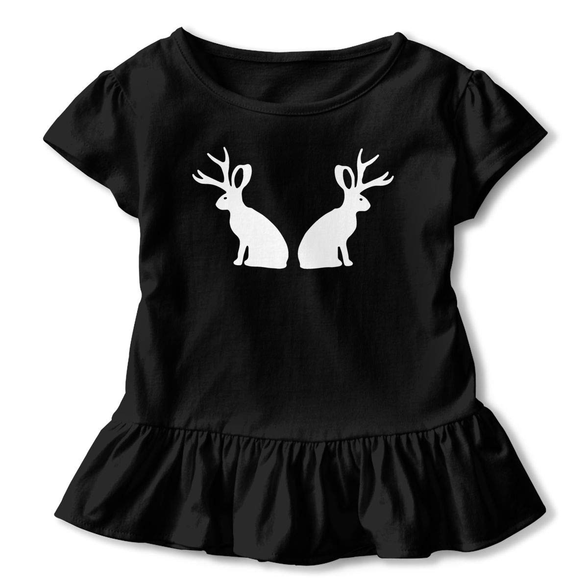 Rabbit with Antlers Baby Girls Short Sleeve Ruffle Tee Cotton Kids T Shirts 2-6 Years