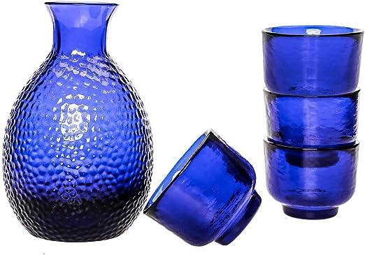 Tokkuri Bottle for Warm or Cold Japanese Wine//Shochu//Tea Blue Glass Japanese Sake Set 5 in 1 Blue