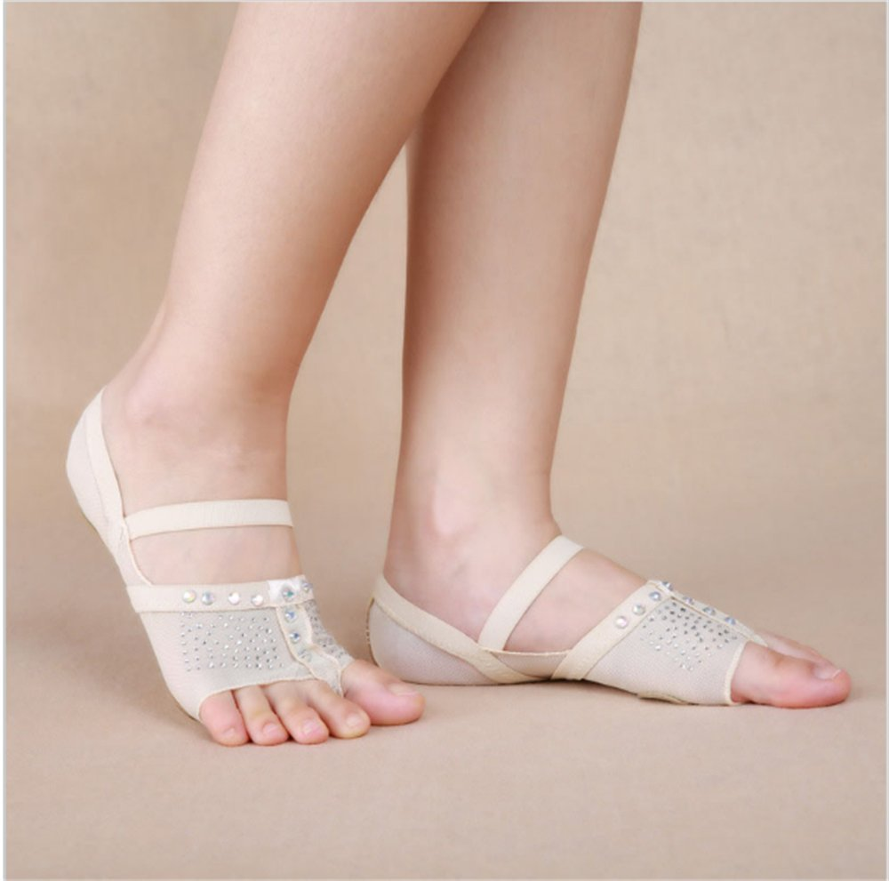 Professional Ballet Flats Women Belly Dancing Foot thong Dance Socks Accessories Shoe Toe Pads (S size(US3.5-4.5), white)