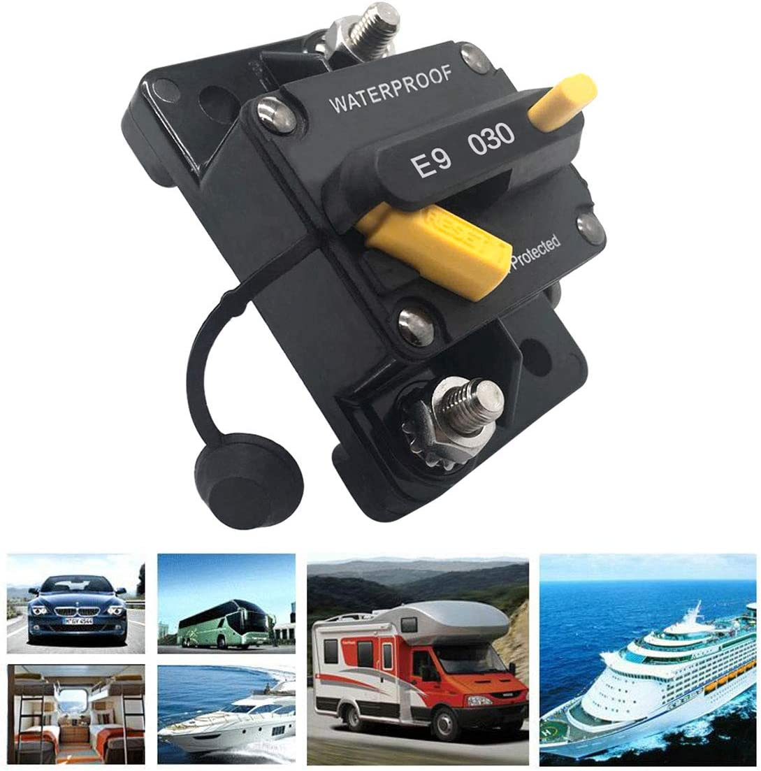 72V DC Fuse Inverter for Car RV Marine Boat 90 Amp GZLMMY Waterproof Circuit Breaker Surge Protector with Manual Reset Button 12V