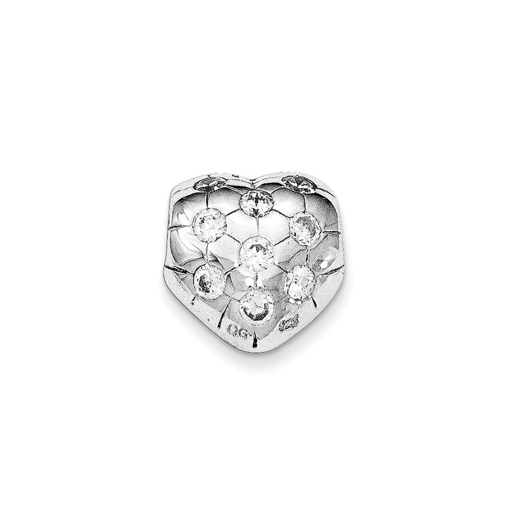 Sterling Silver Rhodium-plated w//Synthetic CZ Heart Bead Chain Slide Pendant
