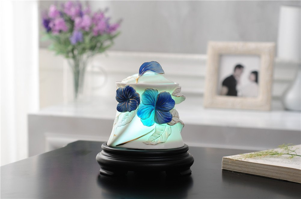 Deerbird Portable Ultrasonic 7 Color LED Lights Changable 150ml Blue Pansy Ceramics Essential Oil Diffuser Adjustable Mist Mode Aromatherapy Humidifier by DeerBird