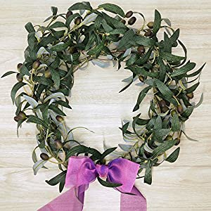 "SUPLA 5 Pack Artificial Olive Branch Spray Plants Houseplant Olives Fruit Plants Greenery UV Resistant Plants 28.3"" Tall for Olive Wreath Indoor Outdoor Wedding Bouquets Floral Arrangements 4"
