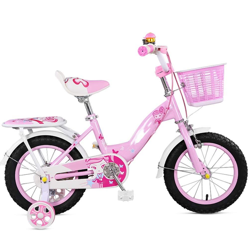 YUMEIGE 子ども用自転車 キッズバイク、トレーニングホイール付き子供用自転車12/14/16インチ男の子と女の子のサイクリング、子供に最適Aged2-8Pink Blue 利用できるサイズ 14in ピンク B07QBYP945