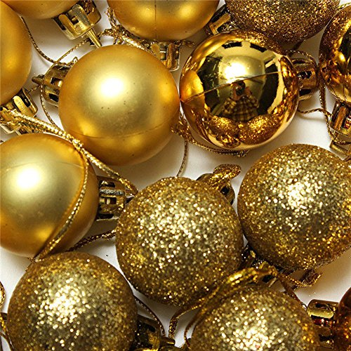 24pcs Christmas Balls Ornament Shatterproof Pendants for Holiday Xmas Garden Decorations (Gold) by Genuisbaby (Image #2)
