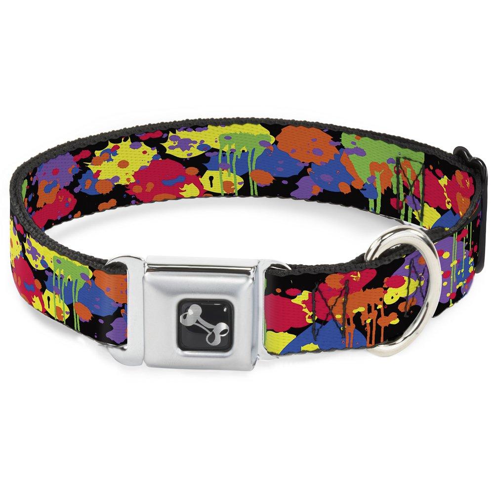 Buckle-Down Seatbelt Buckle Dog Collar BD Paint Splatter Black Neon 1.5  Wide Fits 18-32  Neck Large