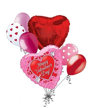Amazon Com Jeckaroonie Balloons 7 Pc Red Heart Arrow Pink Happy