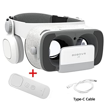 BOBOVR Z5 Gyroscope Virtual Game Headset Upgraded with Adjustable Elastic  Band,Type-C Remote Charging Cable Google Daydream VR with Bluetooth Gamepad