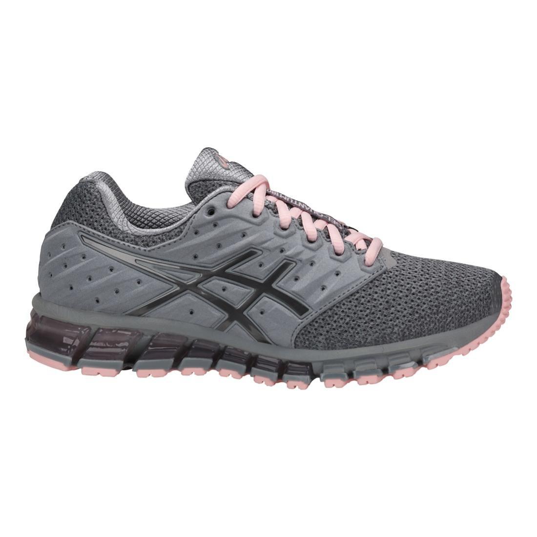 ASICS Womens Gel-Quantum 180 2 MX Running Shoe, Stone Grey/Carbon/Seashell Pink, Size 7.5