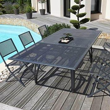 Table 180/240 cm avec rallonge papillon, en alu perforé + 6 Chaises ...