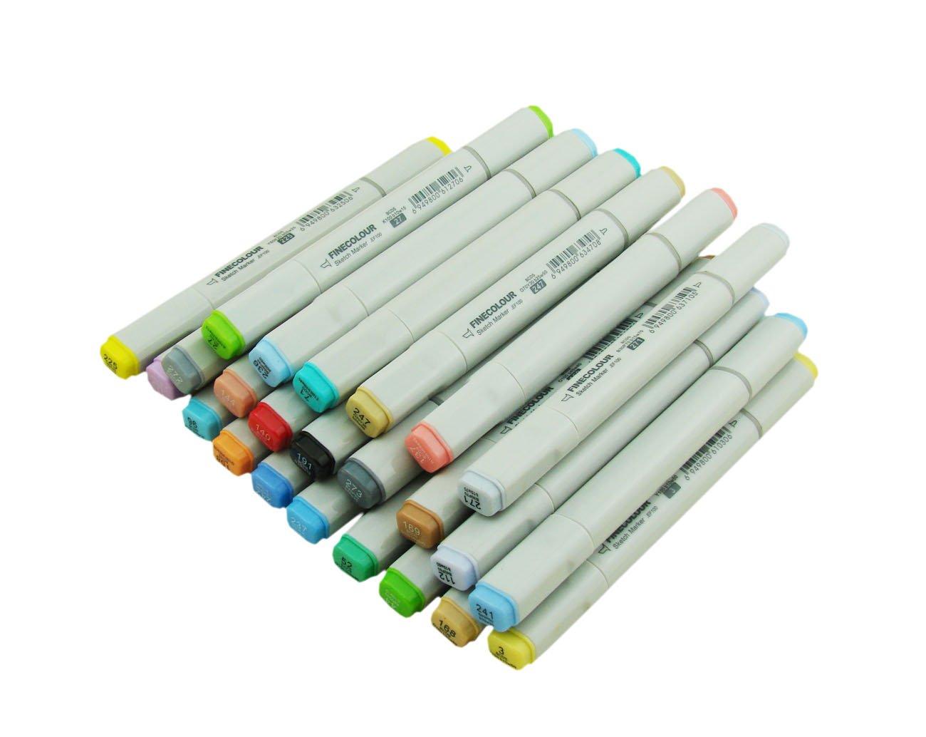 Erofa® finecolour – Rotuladores Juego de artista artista artista necesario pincel/marcadores recargables y reemplazables puntas con bolso de la pluma (24), color 60 da60b9