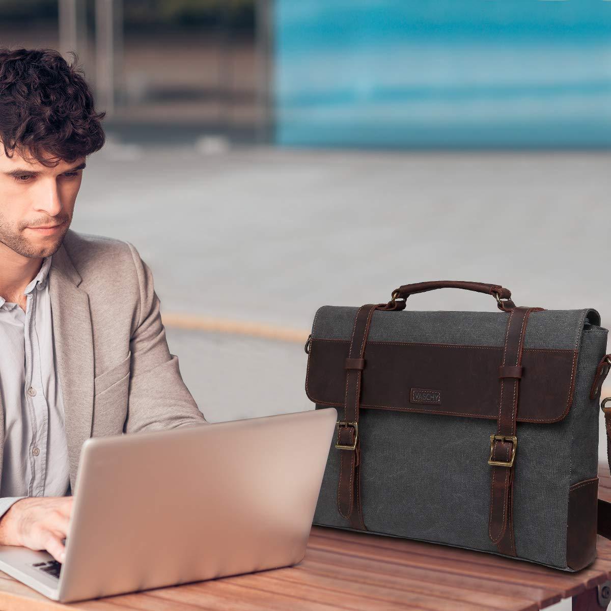 Vintage Leather Canvas Messenger Bag for 15.6in Laptop Shoulder Bag Business Briefcase School Bag 67-Gray Vaschy Satchel Bag Mens