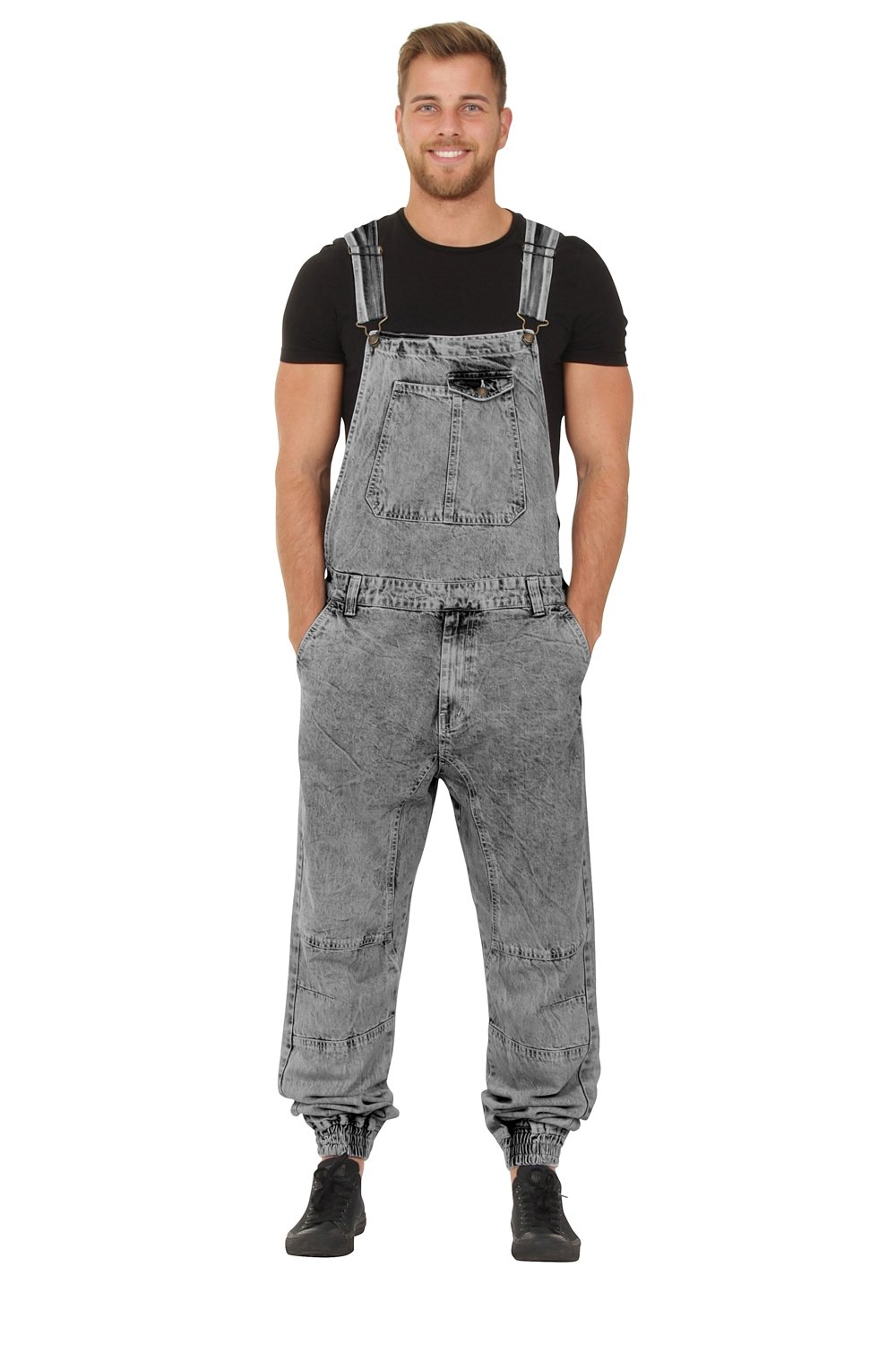 Mens Bib Overalls - Black Wash Dungarees Elasticated at Ankle G8 One