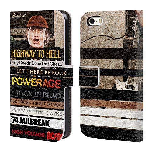 Officiel AC/DC ACDC Titres d'Album Collage Étui Coque De Livre En Cuir Pour Apple iPhone 5 / 5s / SE
