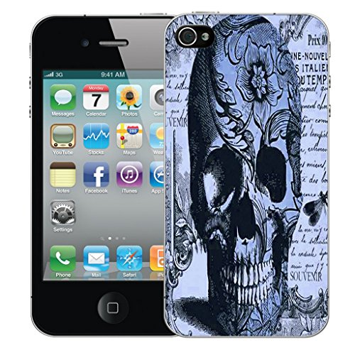 Mobile Case Mate iPhone 5c Silicone Coque couverture case cover Pare-chocs + STYLET - Blue Periodical Skull pattern (SILICON)
