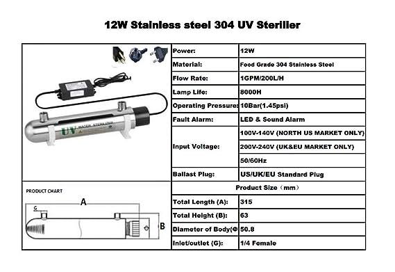 1GPM ULTRAVIOLETA de agua desinfecciš®n sistema de acero inoxidable 304 UV esterilizador caudal 12W (vatios) Ultra Violeta luz agua filtro purificador con ...