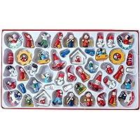 NUOBESTY 48Pcs Enfeites de Madeira de Natal Kit de Enfeites Em Miniatura de Natal Enfeite de Papai Noel Do Boneco de…