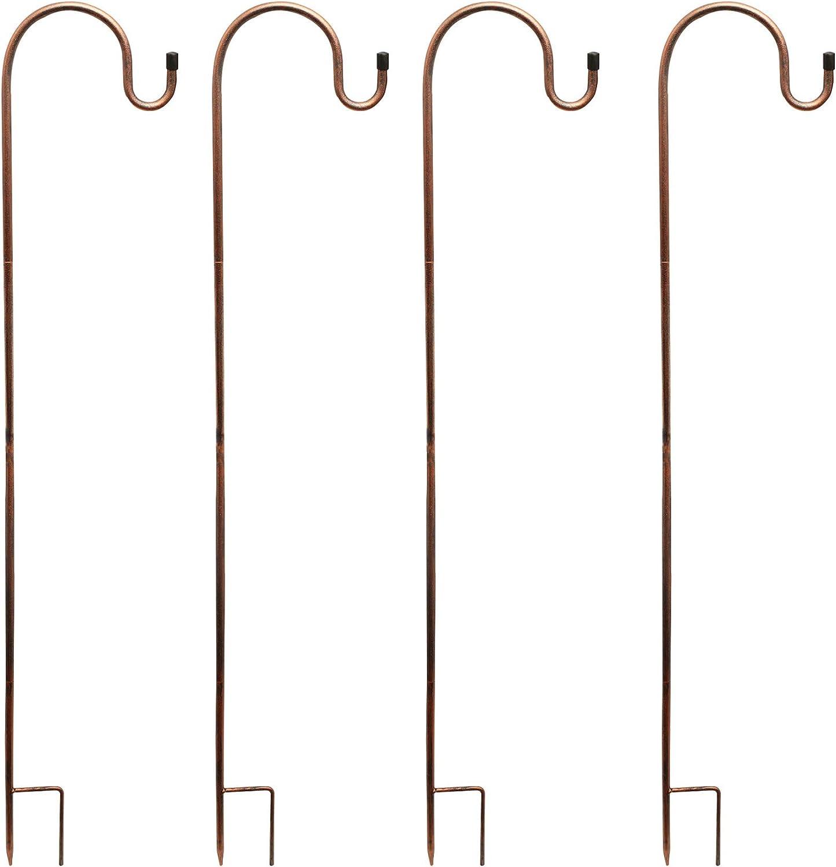 X-PREK Adjustable Shepherds Hook 32 Inch 4 Pack,Solid Piece Heavy Duty Rust Resistant Premium Metal Hook for Weddings, Bird Feeders, Solar Lantern Lights,Hanging Plant Baskets