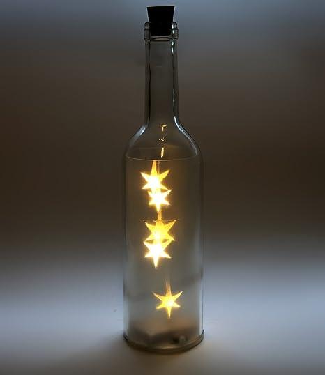 Botella de cristal LED, estilo vintage estrella de Navidad Luz ...