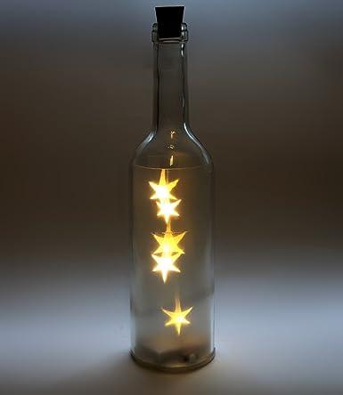 Botella de cristal LED, estilo vintage estrella de Navidad Luz