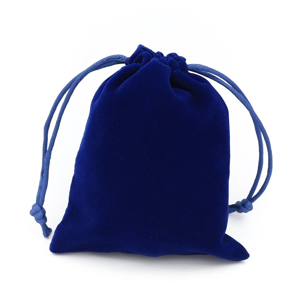 10Pcs Thick Drawstring Velvet Cloth Jewelry Pouch Pocket Gift Bag Pouches Set Royal Blue 2.8x3.5