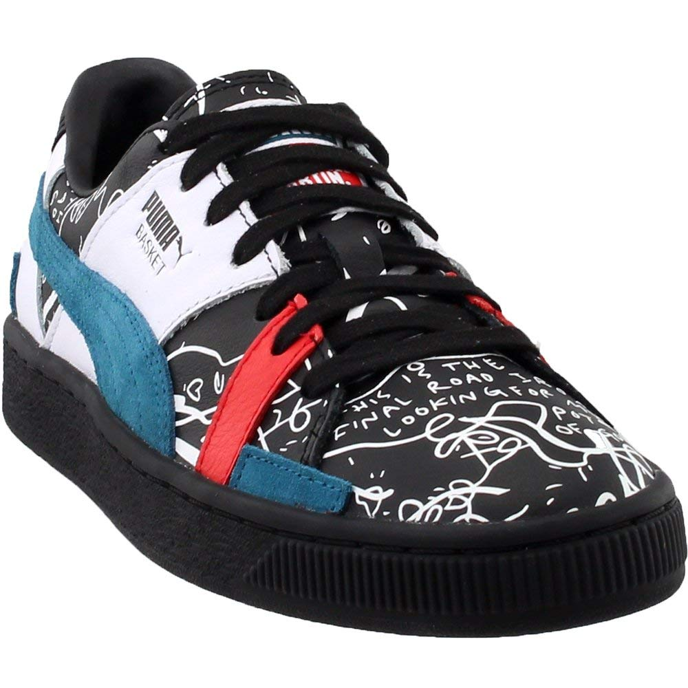 ae353852a7102 PUMA X Shantell Martin Basket Graphic Mens Black Leather Low Top Sneakers  Shoes