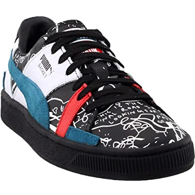 sale retailer bdd97 efd69 PUMA X Shantell Martin Basket Graphic Mens Black Leather Low Top Sneakers  Shoes