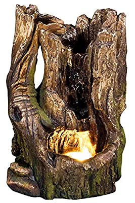 """11"""" Cedar Cove Log Fountain w/LED Light: Indoor/Outdoor Water Feature for Tabletops, Gardens & Patios. Adjustable Pump, HF-L10-11LT by Harmony Fountains"""