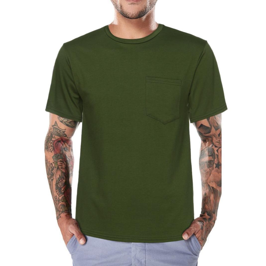 Longra I T-Shirt Herren Sommer Tops I Basic T Shirt I Rundhals-Ausschnitt I Kurzarm Shirt I Regular-Fit I Mauml;nner Shirt I Einfarbige T-Shirts mit Tasche  XL|Green